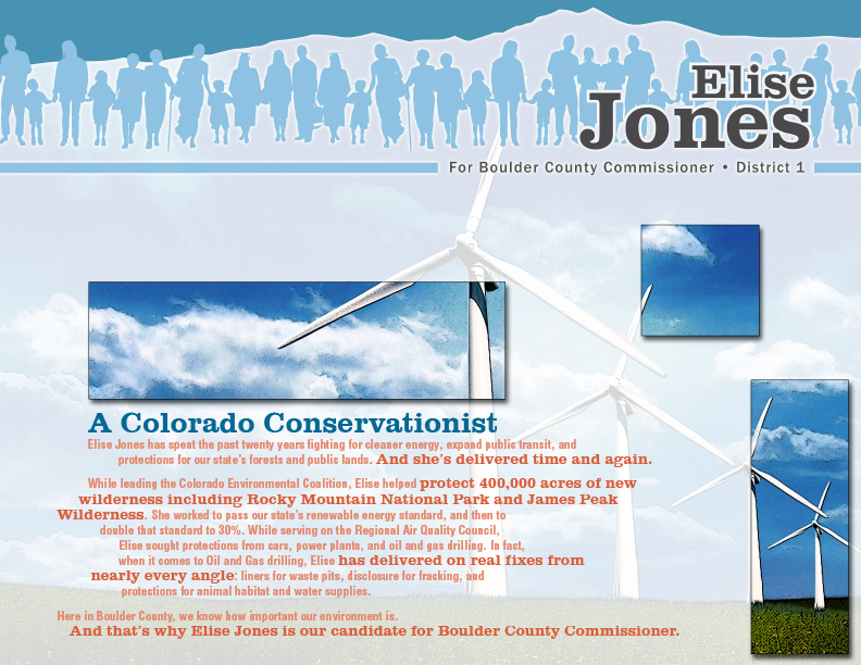 "Elise Jones for Boulder County Commissioner Mailer ""Colorado Conservationist"" front side"