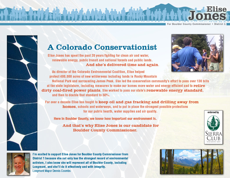 "Elise Jones for Boulder County Commissioner Mailer ""Conservationist"" front side"
