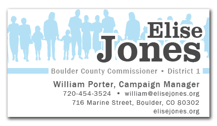 Elise Jones for Boulder County Commissioner Business Card
