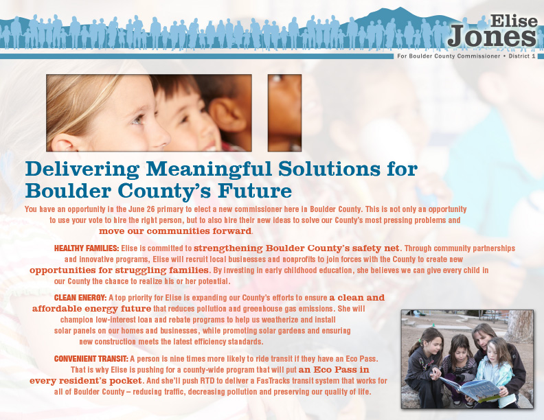 "Elise Jones for Boulder County Commissioner Mailer ""Delivering Solutions"" front side"