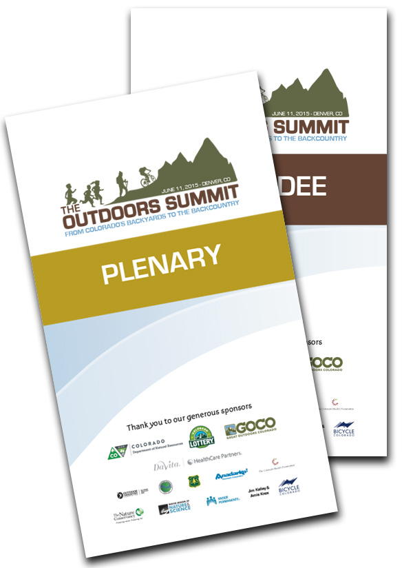 The Outdoors Summit event credentials.