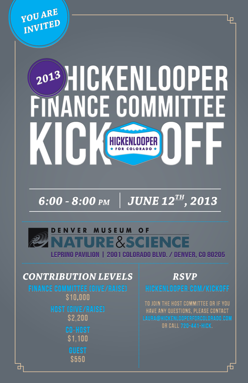 Hickenlooper for Colorado event e-invite