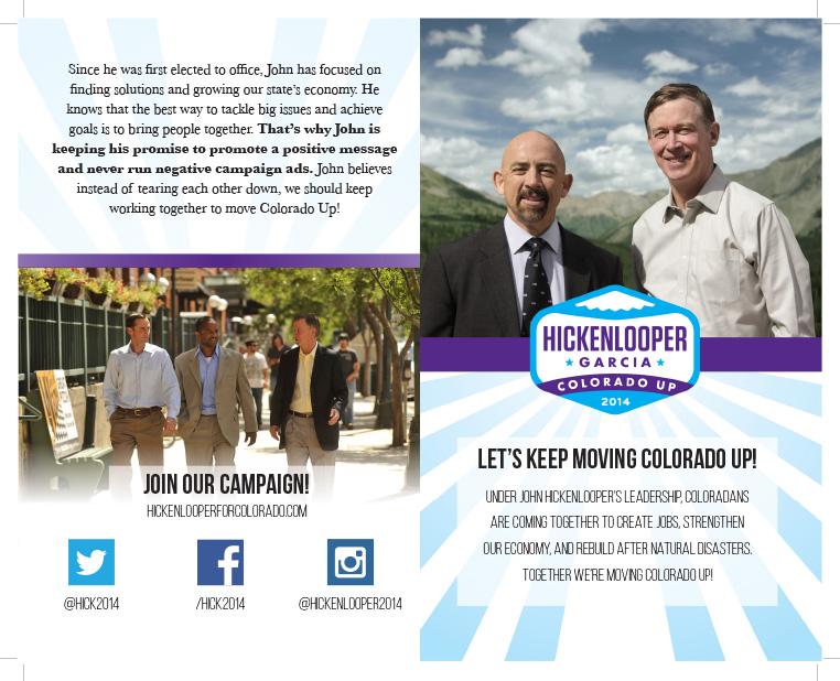 Hickenlooper for Colorado walk lit brochure outside