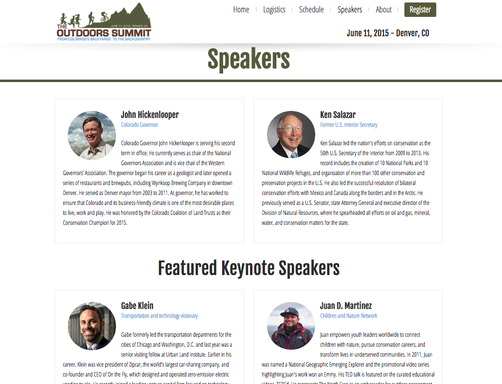 The Outdoors Summit web site speakers listing page