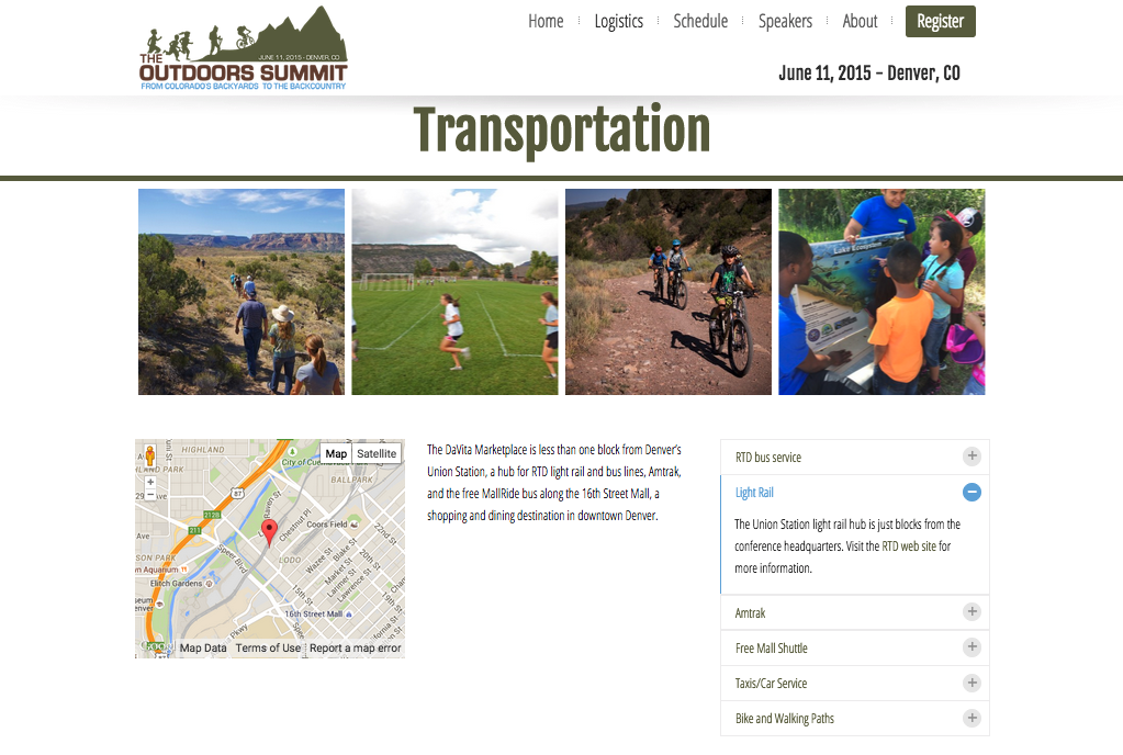 The Outdoors Summit web site transportation options page