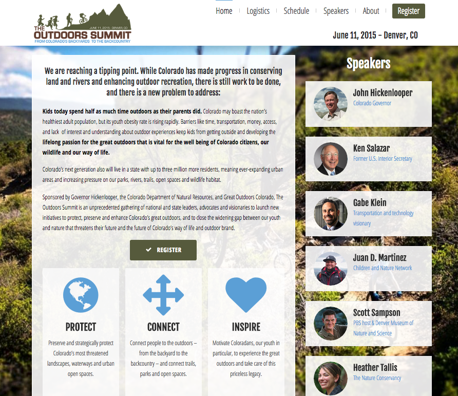 The Outdoors Summit web site home page