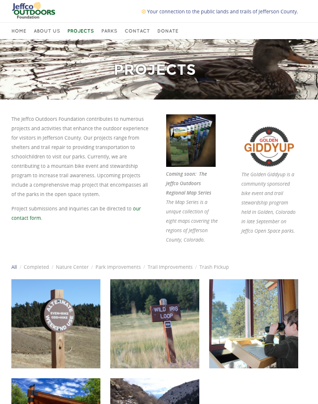 About Jeffco Outdoors Foundation projects.