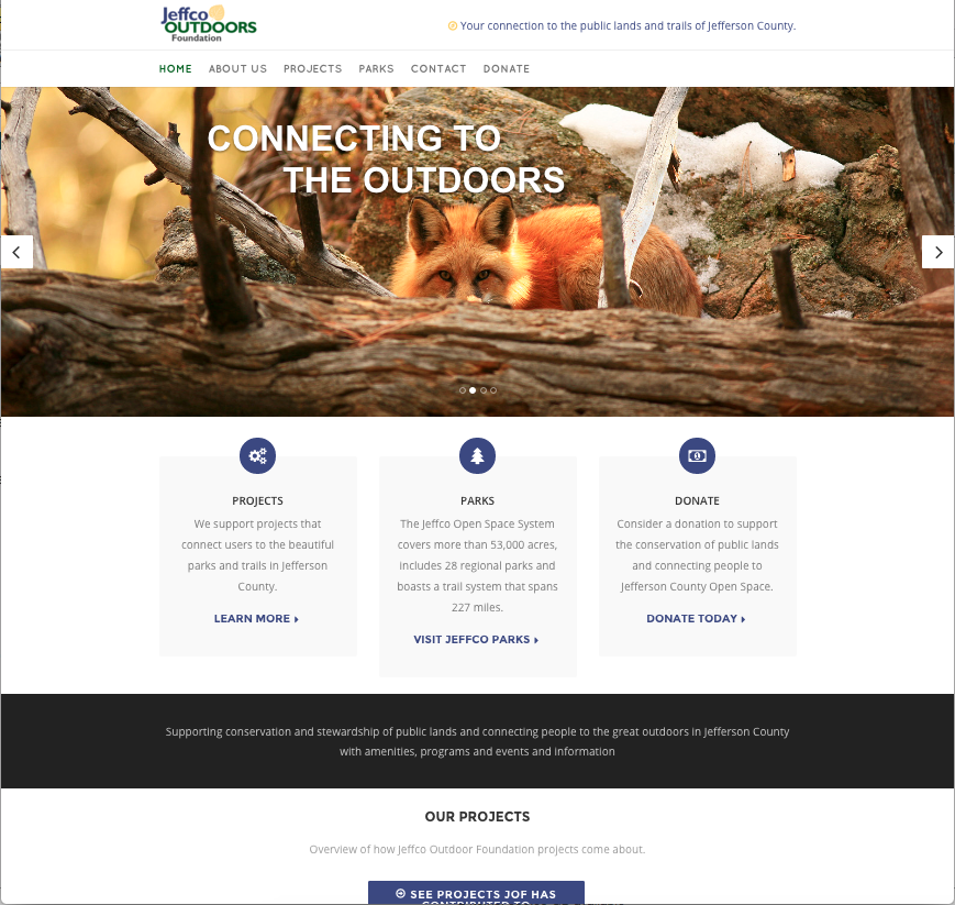 Homepage featuring rotating slider and community-sourced images of Jefferson County parks.