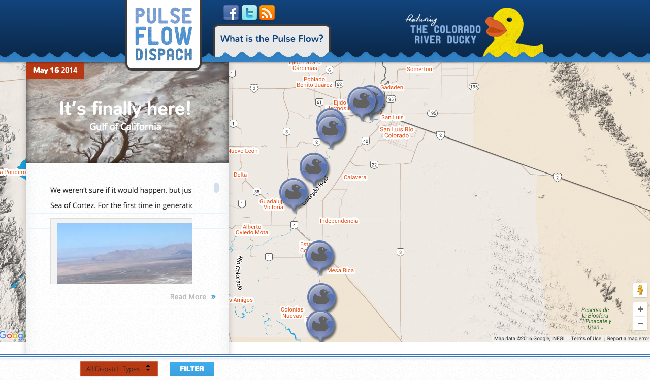 """Campaign micro-site with geotagged posts keep readers updated on the """"Ducky's"""" progress."""