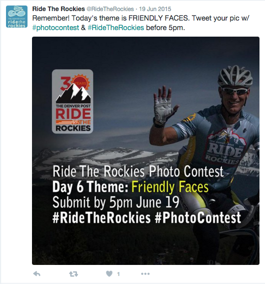 Daily photo contests on Twitter, Facebook, and Instagram engage fans and provide user-submitted content, as well.