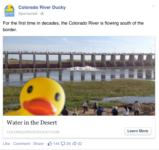 """High-performing Facebook post of the Ducky """"present"""" at the start of the pulse flow."""