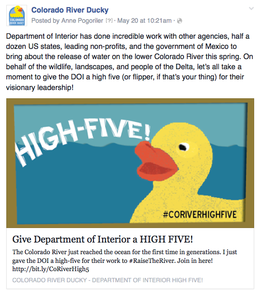 Ducky Facebook post to collect signatures thanking USBR officials.