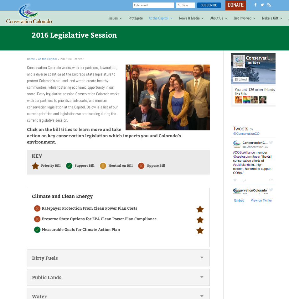Bill tracker allows for at-a-glance updates at bills the organization is working on at the state legislature.