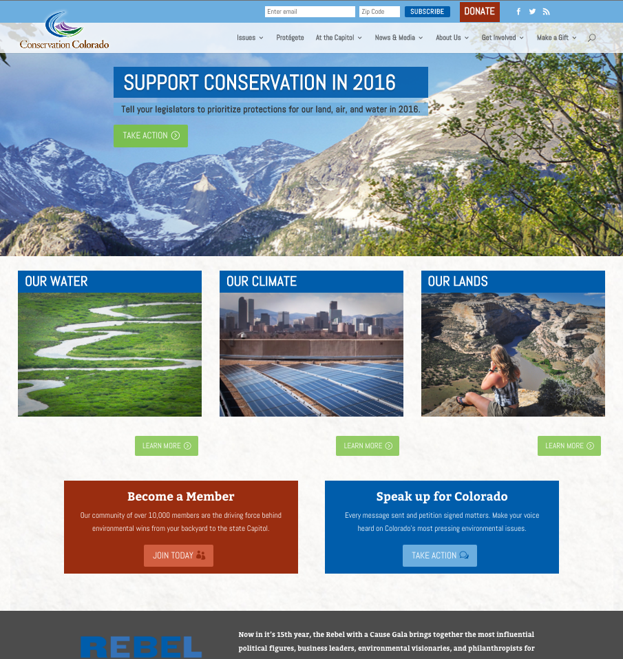 The new homepage features priority items in the slider, and highlights key program areas above the fold.