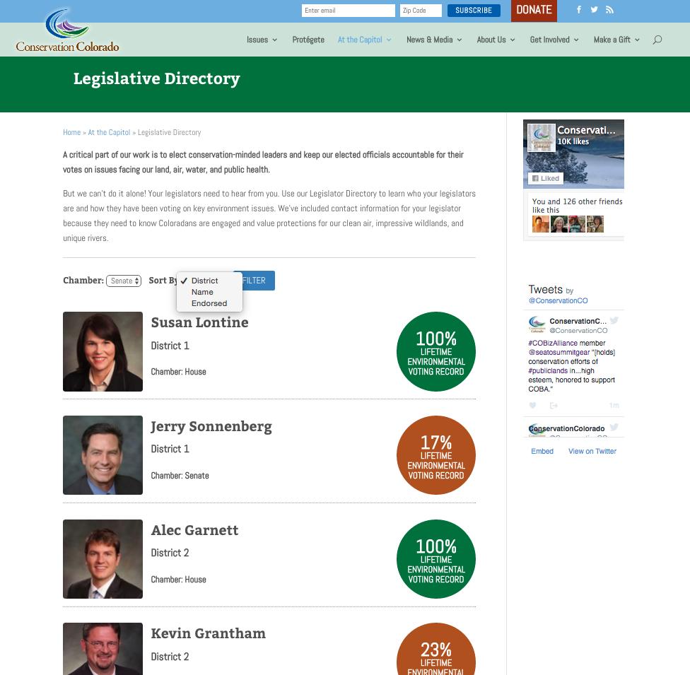 Legislative Directory tracks pro conservation legislators, and allows citizens to easily contact legislators on issues of concern.