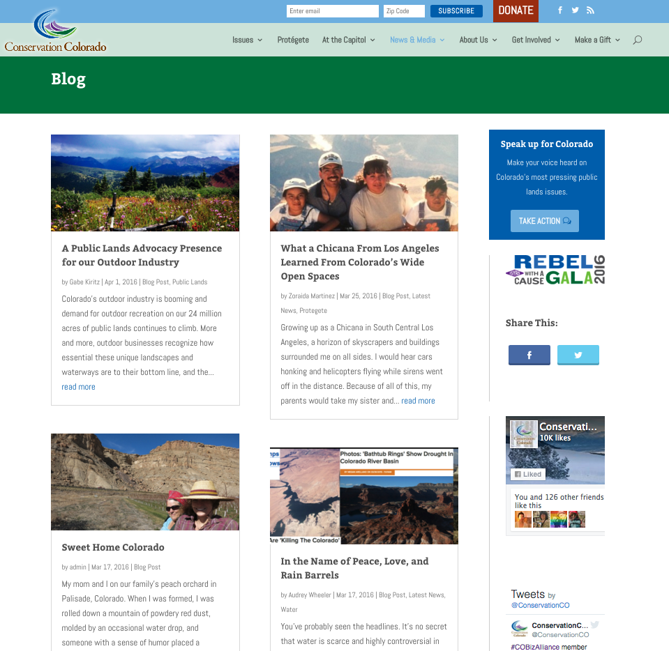 Blog posts feature staff, images, and important news.
