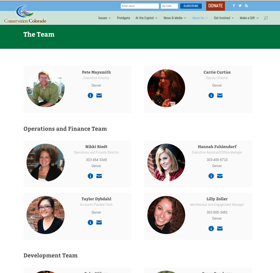 Staff directory brings the faces and contact information to the forefront.