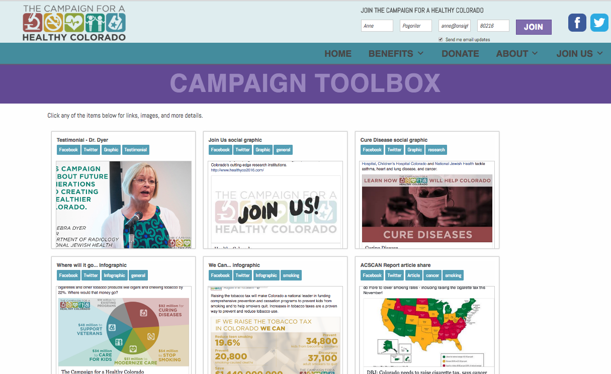 HealthyCo2016.com campaign resources toolbox