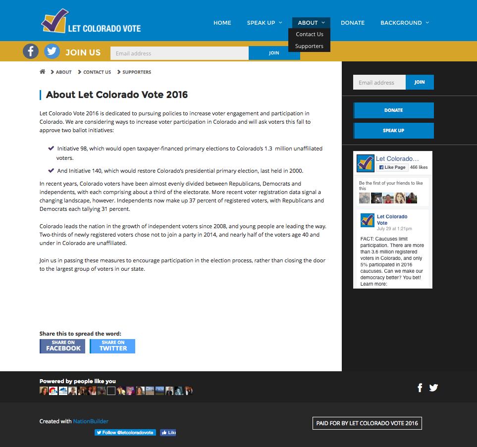 Let Colorado Vote 2016 background information.