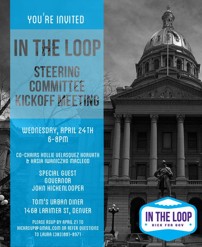 Hickenlooper for Colorado event e-invite
