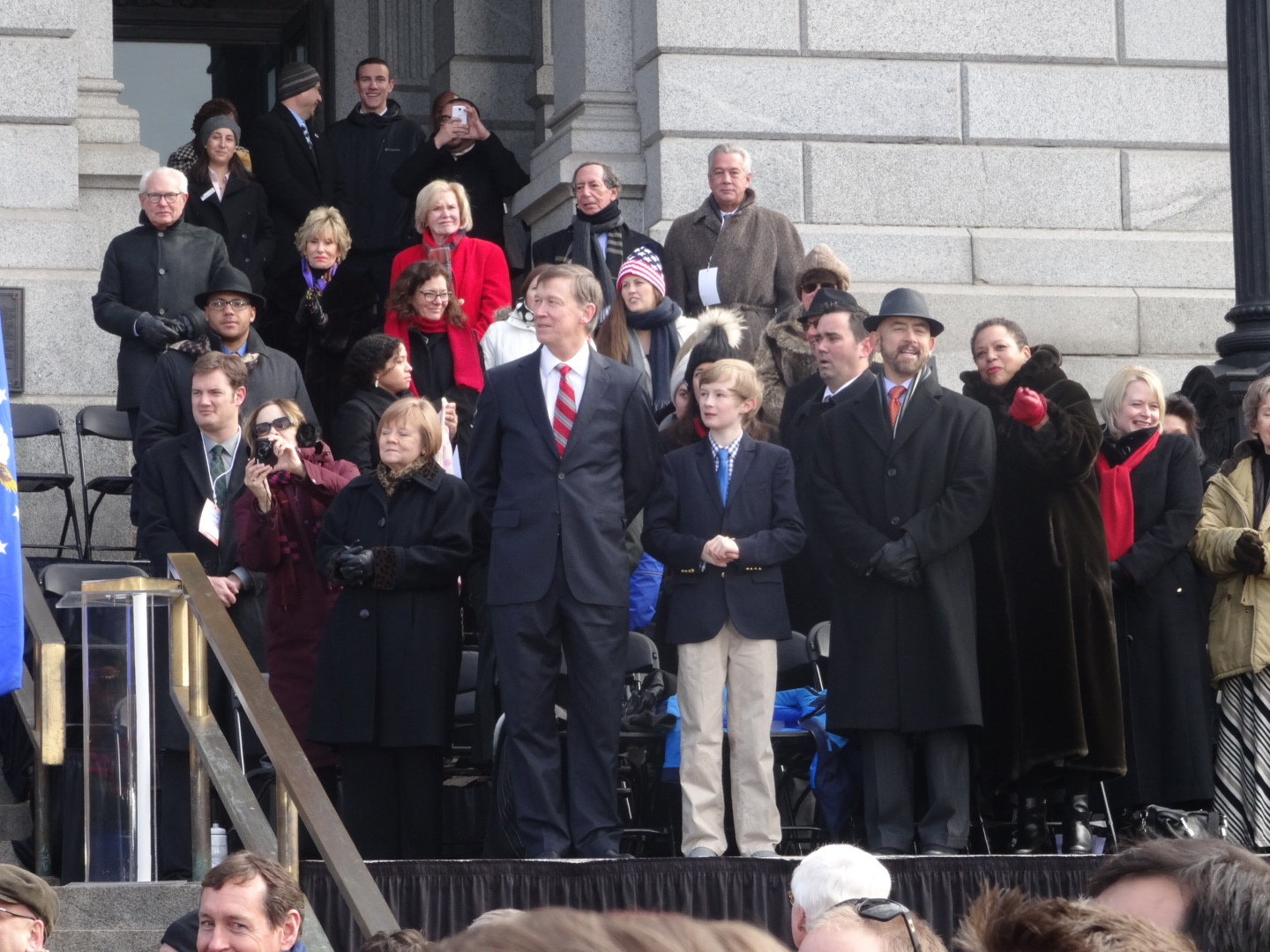 Governor Hickenlooper is sworn in outside the state capitol in January, 2015