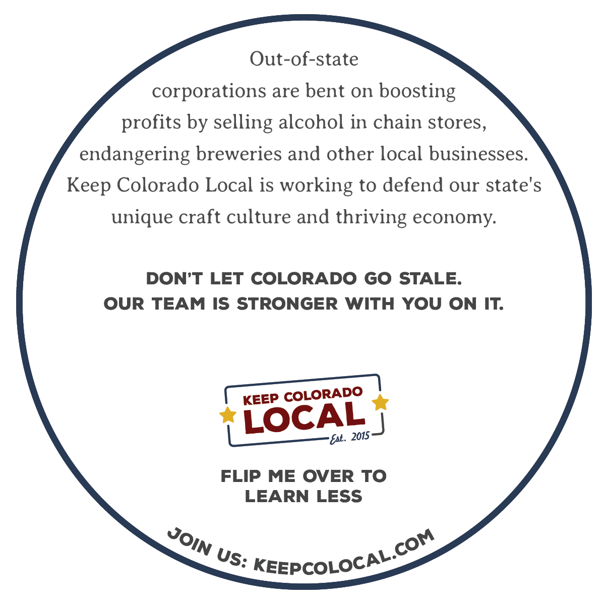 KCL coasters distributed to breweries around the state (back)
