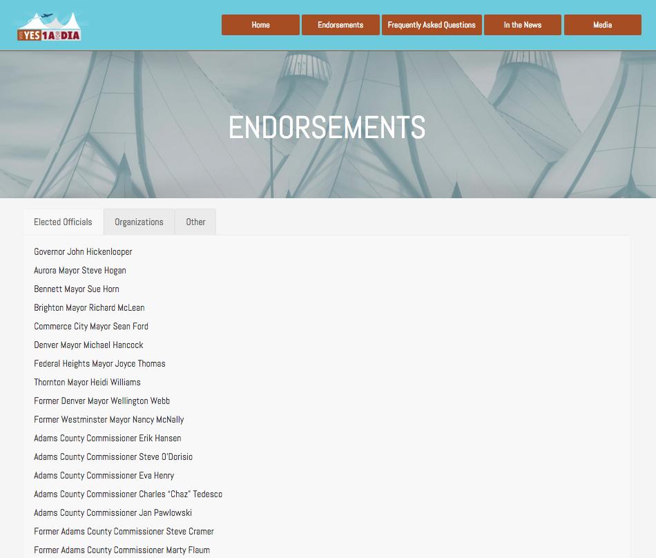 Endorsements listing