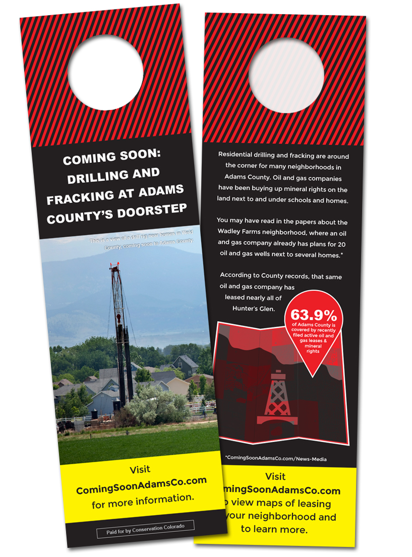 Coming Soon door hangers were dropped in Adams County