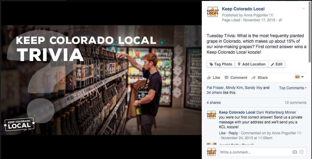 Interaction-generating, share-worthy content performs well for Keep Colorado Local.