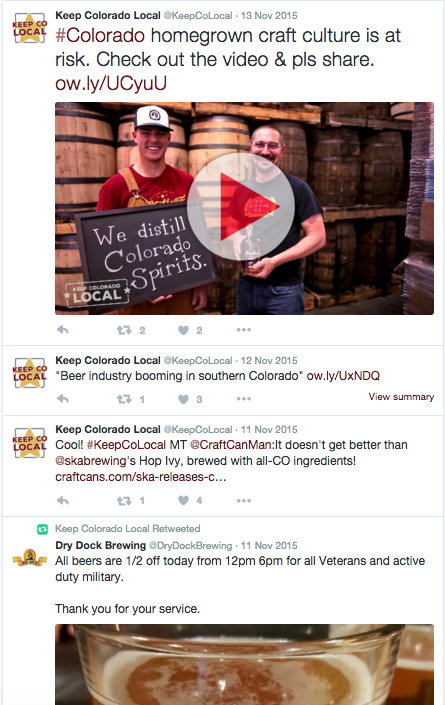 Keep Colorado Local used Twitter to promote partner events and interact with fans.
