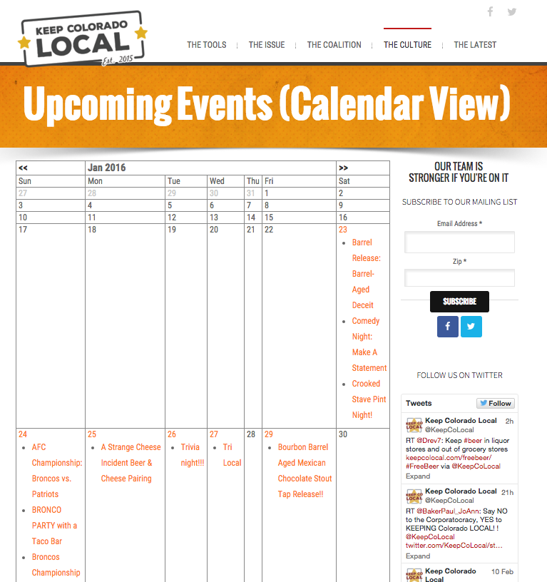 Calendar allows partners and staff to showcase community events.