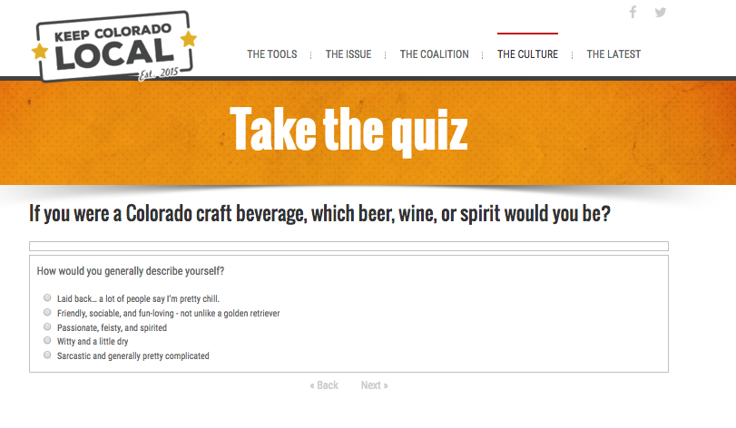 Quiz encourages engagement and social sharing.