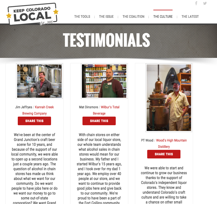 Testimonials feature voices and faces from the community of affected small business owners.