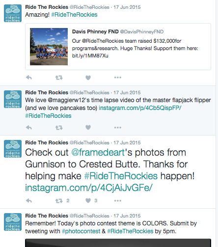 Ride The Rockies Twitter account interacts with fans.