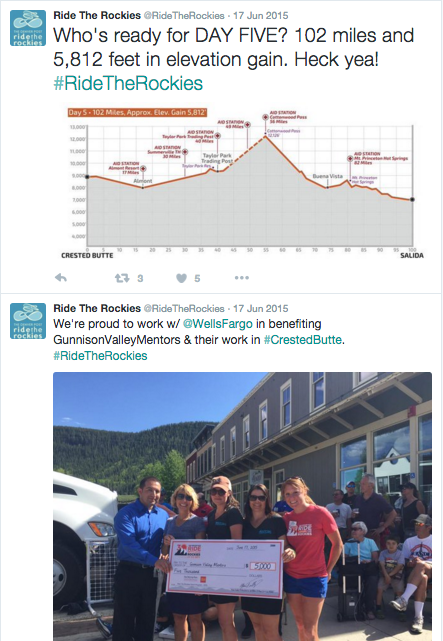 Ride The Rockies uses social media to provide news and highlight sponsors.