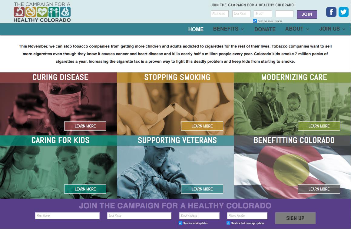 HealthyCo2016.com homepage