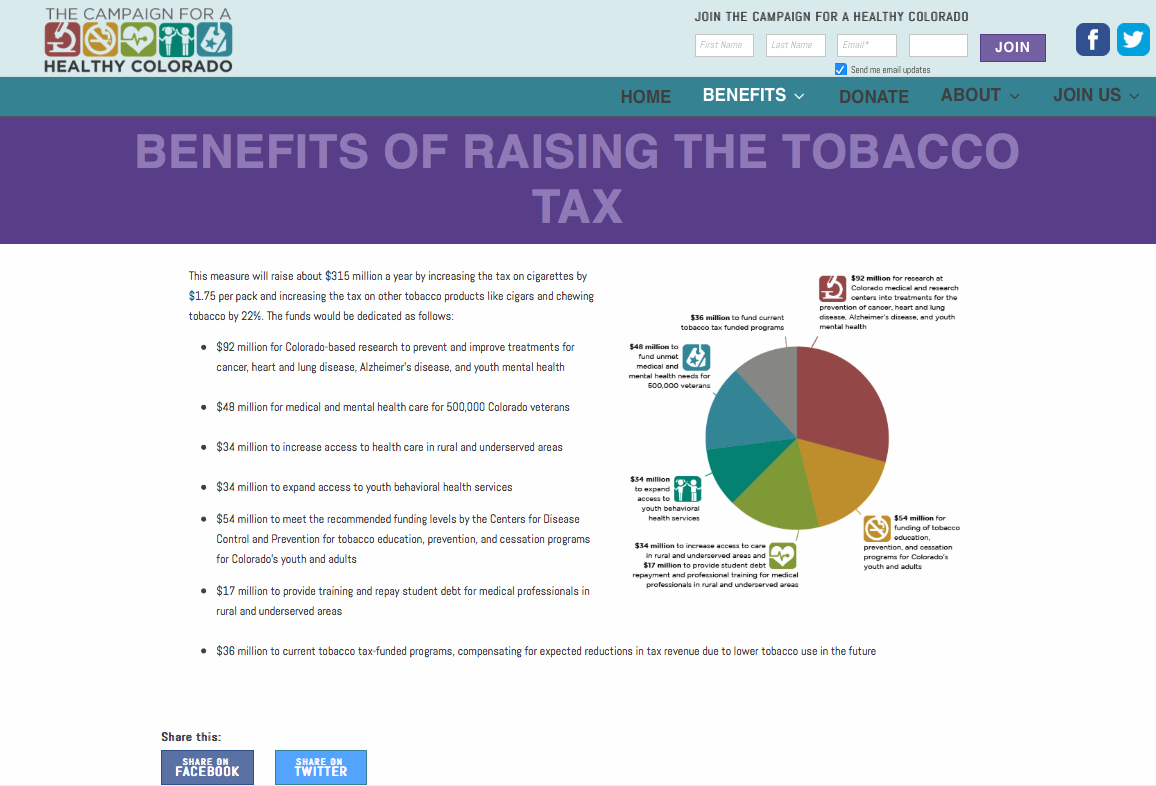 HealthyCo2016.com benefits page