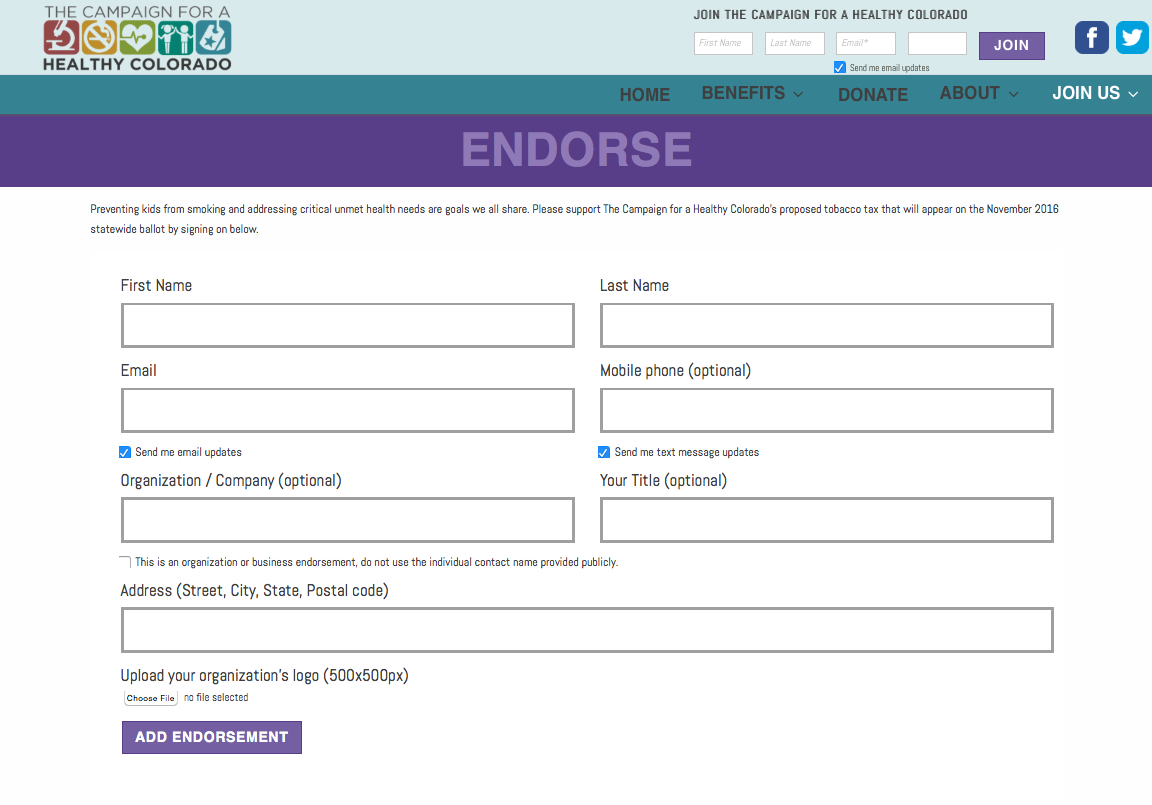 HealthyCo2016.com endorsement/engagement form