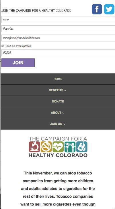 HealthyCo2016.com mobile version