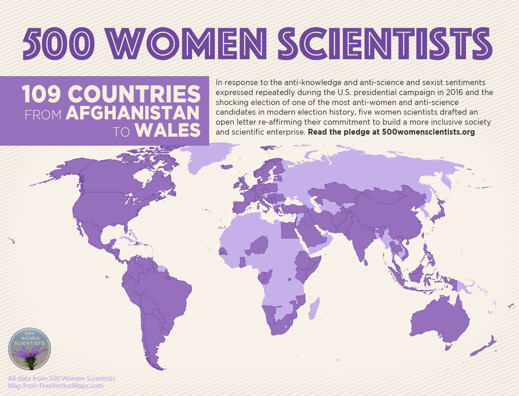 500 Women Scientists infographic (countries detail)