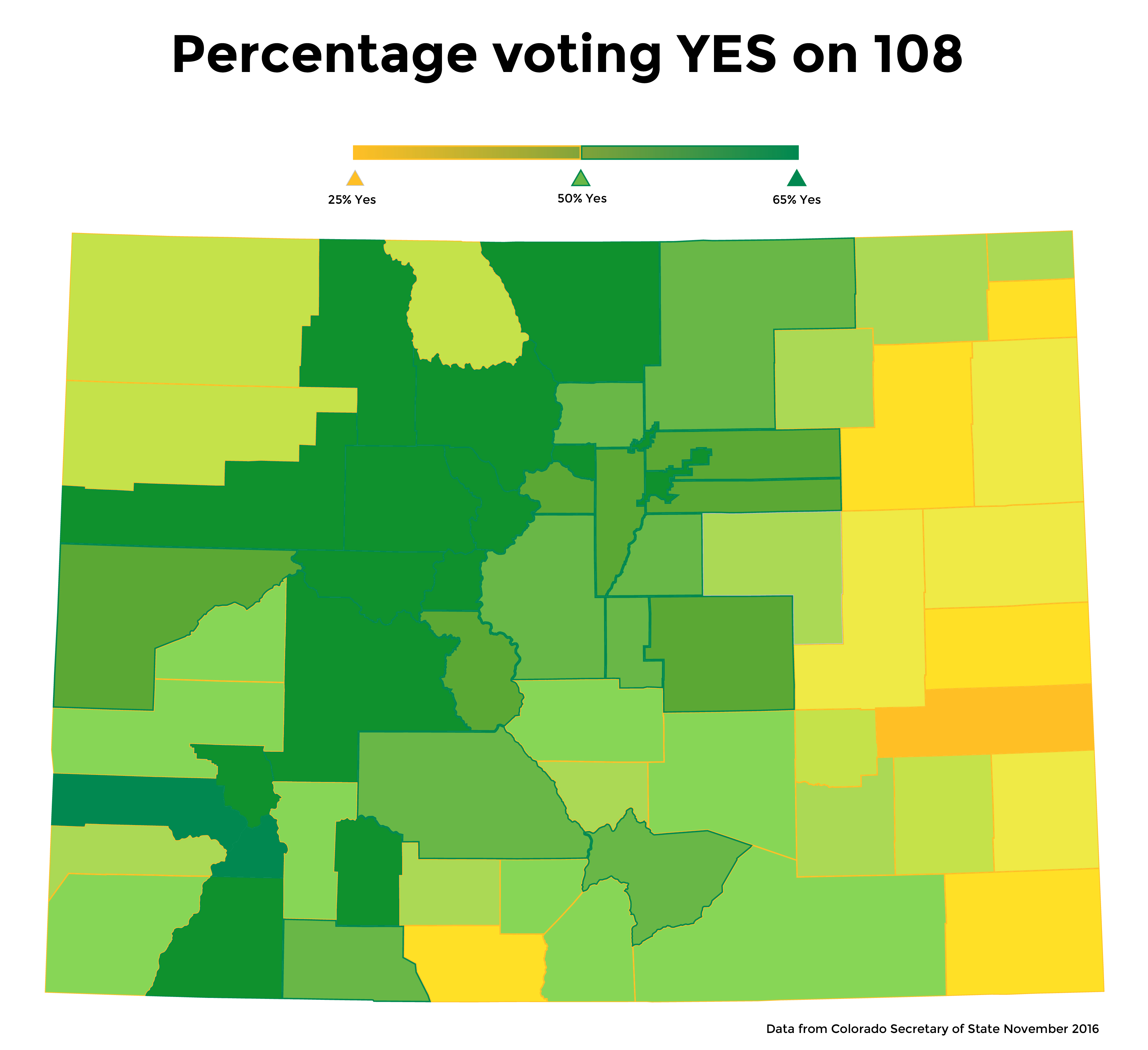 Heatmap of voters voting YES on Let Colorado Vote by county.