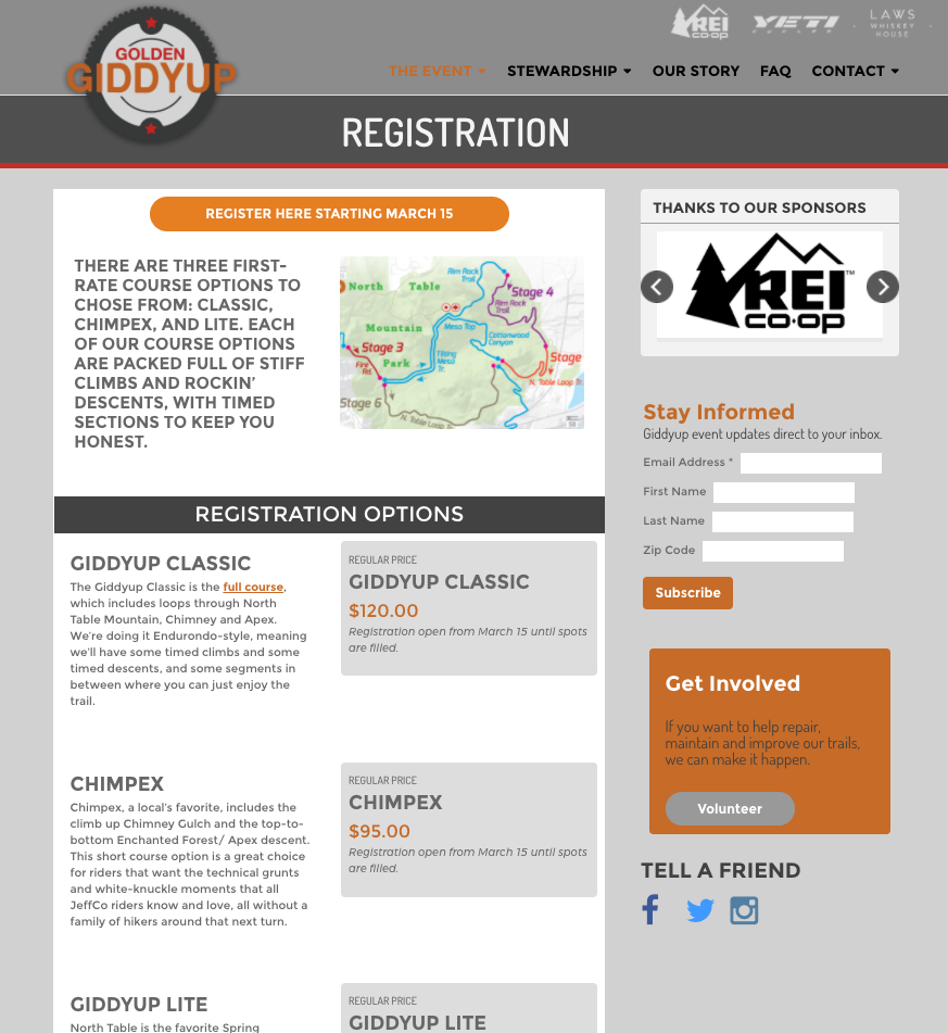 Golden Giddyup web site registration options